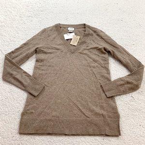 J crew dark tan cashmere vneck sweater